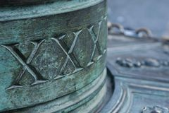 Римские номера на старом фонтане Стоковые Фотографии RF