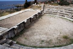 Римские руины Byblos, среднеземноморского побережья, Ливана Стоковая Фотография RF