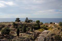 Римские руины Byblos, среднеземноморского побережья, Ливана Стоковые Фотографии RF