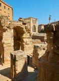 Римский амфитеатр в квадрате Santo Oronzo аркады Lecce, Италия Стоковое Изображение