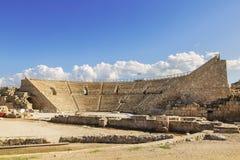 Римский амфитеатр в национальном парке Caesarea Стоковая Фотография RF