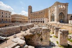 Римский амфитеатр Lecce, Италии Стоковое фото RF
