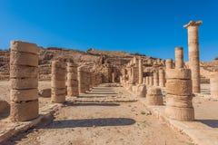 Римский висок в nabatean городе petra Иордании Стоковые Изображения