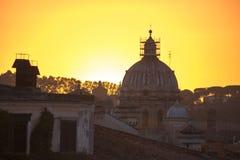 Римский заход солнца ландшафта Стоковое фото RF