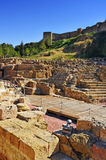Римский театр в Малаге, Испании стоковые изображения rf