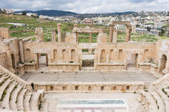 Римский театр на Jerash Стоковая Фотография