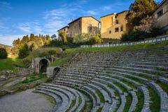 Римский театр я столетие ДО РОЖДЕСТВА ХРИСТОВА в Fiesole Флоренция стоковые изображения