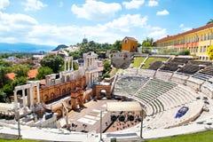 Римский театр Philippopolis в Пловдиве, Болгарии Стоковая Фотография