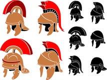 Римским иллюстрация шлема изолированная комплектом Стоковое Изображение RF