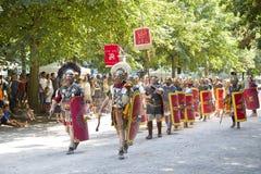 Римское зрелище с гладиаторами и legionaries стоковая фотография rf