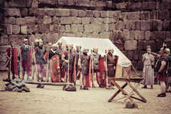 Римское историческое положение шестерни лагеря reenactment, команда сыгранности Стоковые Изображения RF