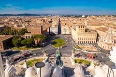 Рим Венеция Plazza как увиденная сверху аркада Venezia стоковое фото