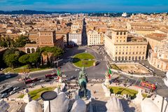 Рим Венеция Plazza как увиденная сверху аркада Venezia стоковое изображение