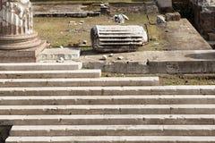 Рим, имперские форумы, форум Augustus, лестница, крупный план детали Стоковые Изображения RF