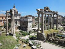 19 06 2017, Рим, Италия: Красивый вид руин известное римского Стоковое Изображение