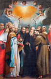 РИМ, ИТАЛИЯ - 11-ОЕ МАРТА 2016: Картина святые исповедники в церков Базилике di Сан Vitale Giovanni Battista Fiammeri Стоковые Изображения RF
