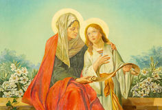РИМ, ИТАЛИЯ - 10-ОЕ МАРТА 2016: Картина St Ann с девой марией в di Santa Maria Ausiliatrice базилики церков продажами стоковое фото rf