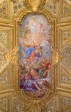 РИМ, ИТАЛИЯ - 12-ОЕ МАРТА 2016: Предположение фрески девой марии на своде в di Santa Maria del Orto Chiesa стоковое изображение rf
