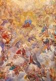 РИМ, ИТАЛИЯ - 9-ОЕ МАРТА 2016: Предположение фрески свода нашей дамы Giacinto Brandi стоковые фото