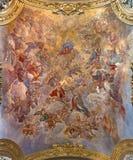 РИМ, ИТАЛИЯ - 9-ОЕ МАРТА 2016: Предположение фрески свода нашей дамы Giacinto Brandi & x28; 1682& x29; стоковые изображения rf