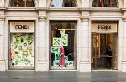 Рим, Италия - 13-ое мая 2018: Магазин моды Fendi в Риме Стоковое Изображение