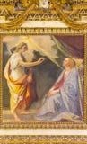РИМ, ИТАЛИЯ: Фреска аннунциации в бортовой часовне церков Базилики di Santi Quattro Coronati Giovanni da San Giovanni стоковые фотографии rf