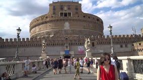 Рим, Италия - 23 06 2018: ` Angelo Ponte Sant, Рим Castel Sant Angelo акции видеоматериалы