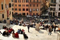 Рим, Италия, испанские лестницы, barcaccia della Фонтаны, Стоковая Фотография