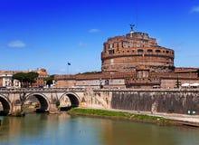 Рим. Италия. Castel Sant Angelo.Cityscape в солнечном дне стоковое фото rf