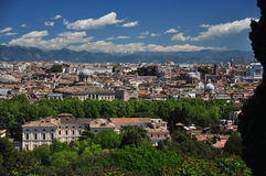 Рим, обозревая старый городок от холма Gianicolo Стоковые Фото