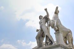 Рим, скульптура в квадрате quirinal показывая Dioscuri, c стоковая фотография rf