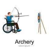 Рио 2016, бразильская игра для с ограниченными возможностями, спорт archery инвалидности, спортсмен с протезом Стоковое Изображение RF