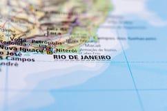 Рио-де-Жанейро на карте Стоковое фото RF