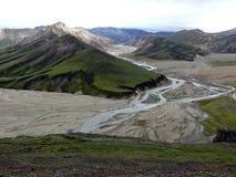 риолит гор Исландии известных лошадей зоны icelandic landmannalaugar трясет вулканическое Стоковое Фото