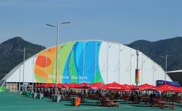 Рио 2016 олимпийское Megastore на олимпийском парке в Рио-де-Жанейро стоковая фотография rf