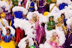 РИО-ДЕ-ЖАНЕЙРО - 11-ОЕ ФЕВРАЛЯ: Женщина и человек в dancin костюма Стоковая Фотография RF