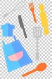 Рисберма и изделия варить, на прозрачной предпосылке влияния иллюстрация вектора
