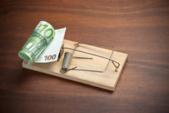 Рискните евро денег облечения ловушки Стоковое Фото
