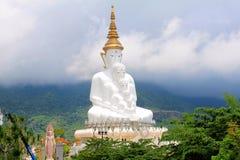 Рискованное предприятие 5 сидя белое Buddhas и туманные холмы за Буддой на Pha Sorn Kaew, в Khao Kor, Phetchabun, Таиланд стоковые фото