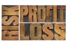 Риск, выгода, потеря - сформулируйте конспект Стоковое Изображение RF