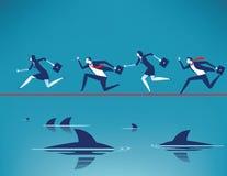 Риск Команда дела бежать на опасном положении в веревочке с плавать захватнические акулы r иллюстрация вектора