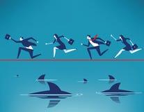 Риск Команда дела бежать на опасном положении в веревочке с плавать захватнические акулы r иллюстрация штока