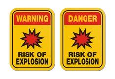 Риск предупреждения и опасности взрыва желтеет знак иллюстрация вектора