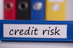 Риск при предоставлении кредита на голубом связывателе дела Стоковые Изображения RF