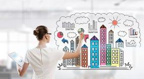 Рисовать бизнес-план Мультимедиа Стоковые Фото