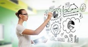 Рисовать бизнес-план Мультимедиа Стоковое Изображение