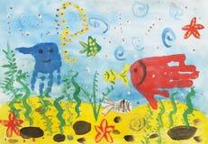 Рисовать в форме handprint рыб Стоковая Фотография