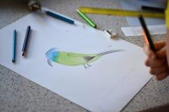 Рисовать в школе Стоковая Фотография RF