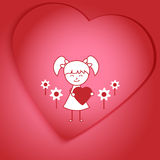 Рисовать девушку держа сердце Стоковое Изображение