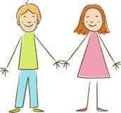 Рисовать детей. Мальчик и девушка Стоковые Фото